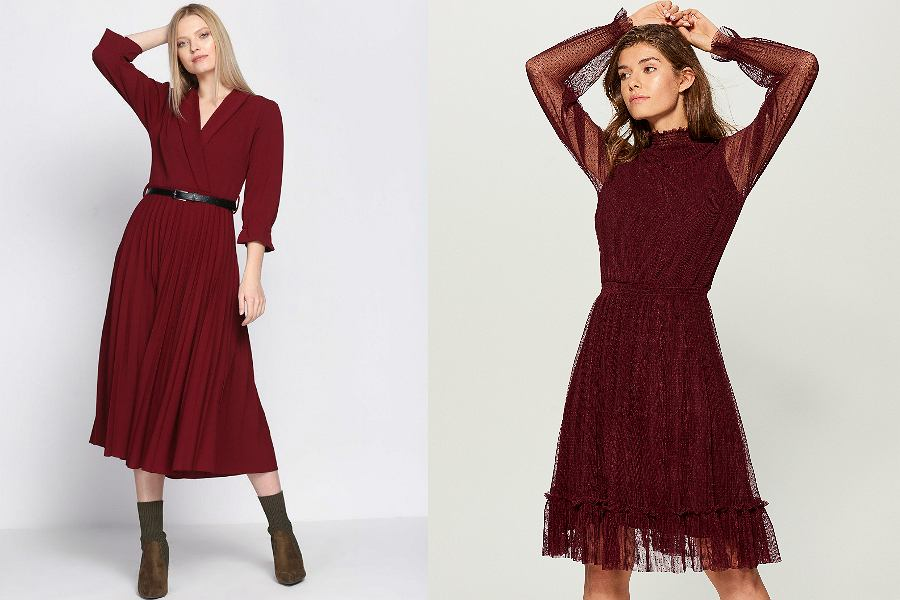 bordowa sukienka rozkloszowana