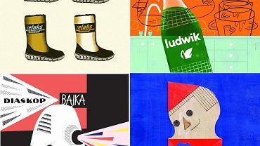Ilustracje z 'Elementarza polskiego designu' (Patryk Moglinicki Ola Niepsuj, Robert Czajka, Paweł Pawlak)
