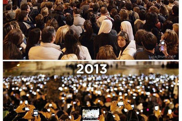 Plac �wi�tego Piotra w 2005 i 2013 roku. Wska� 3 r�nice