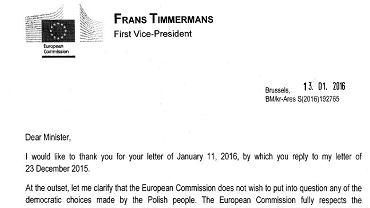 Fragment listy Fransa Timmermansa do ministra Ziobry