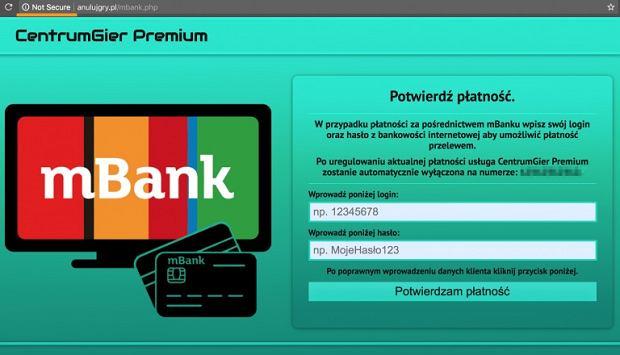 Fałszywa strona przekonuje o możliwości zapłaty przez system mBank