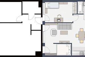 Sypialnia dla rodziców w dwupokojowym mieszkaniu
