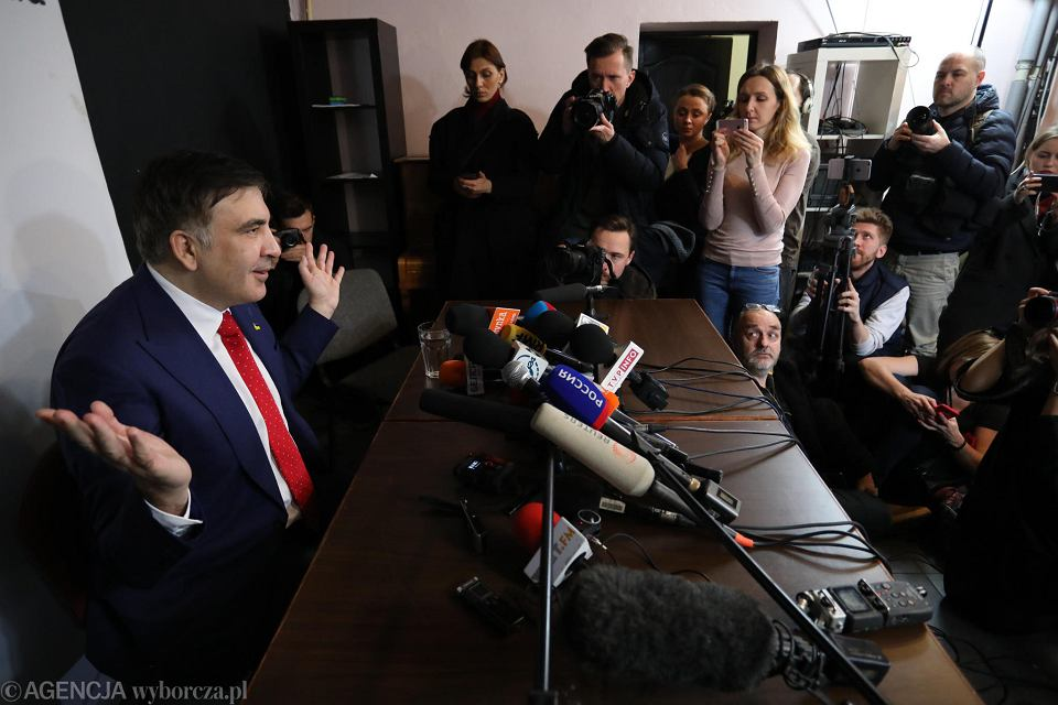 Micheil Saakaszwili na konferencji prasowej w Warszawie, 13 lutego 2018 r.