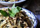 Spaghetti ze szpinakiem i �ososiem