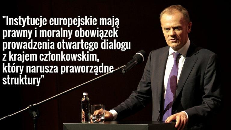 Przewodniczący Rady Europejskiej Donald Tusk o sytuacji w Polsce.