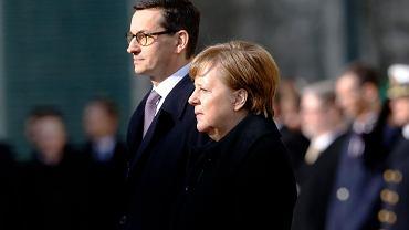 Kanclerz Angela Merkel i premier Mateusz Morawiecki. Oficjalna wizyta szefa rządu PiS w Niemczech. Berlin 16 lutego 2018