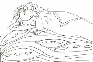 Kolorowanka: Księżniczka na ziarnku grochu -