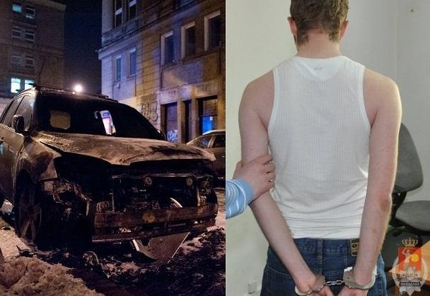 Mężczyzna podpalił samochody zaparkowane w centrum Warszawy