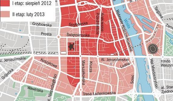 Mapa zasięgu Veturilo - warszawskiego systemu roweru publicznego.