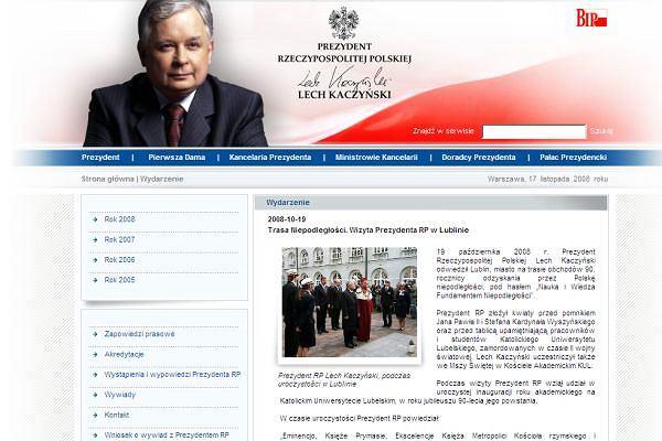 Przemówienie Lecha Kaczyńskiego na stronie prezydenta Fot. za www.prezydent.pl