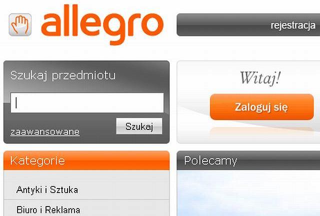 Strona główna serwisu aukcyjnego Allegro