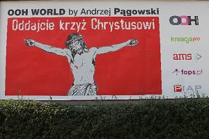 P�gowski namalowa� plakat: Chrystus bez krzy�a