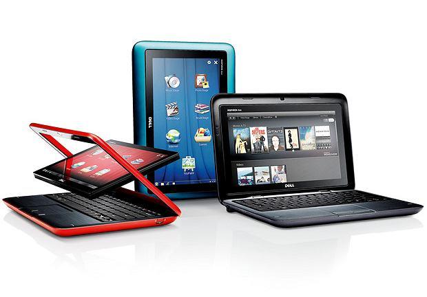 Duo, czyli dwa w jednym. 10-calowy ekran dotykowy Dell Inspiron Duo możemy obrócić o 180 stopni, zamknąć pokrywę i otrzymamy tablet