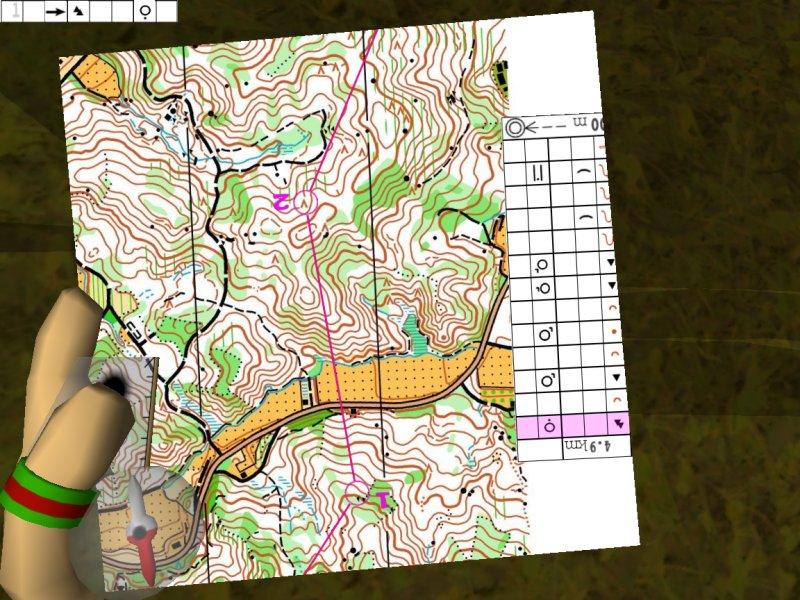 Bieganie na orientację na komputerze - gra Catching Features, widok mapy