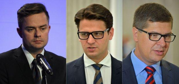 Posłowie: Adam Hofman, Mariusz Kamiński i Adam Rogacki. Teraz mają duży problem