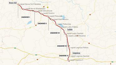 Droga S3 na odcinku w województwie Dolnośląskim