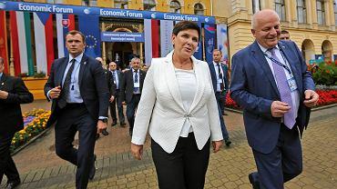 Była premier, obecna wicepremier rządu PiS Beata Szydło i Stepan Kubiv podczas XXVIII Forum Ekonomiczne w Krynicy, 4 września 2018