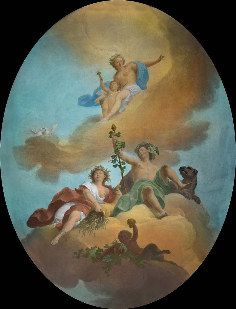 Bachus i Ceres w obłokach, niezachowany plafon, Pokój Bachusa w Pałacu na Wyspie w Łazienkach Królewskich / MATERIAŁY PRASOWE