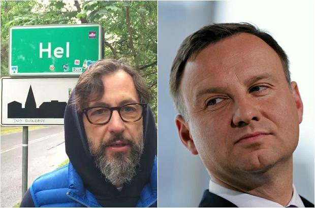 """Szymon Majewski na Helu nagrał film dla prezydenta. """"Druhu Andrzeju, pomyśl o wecie"""""""