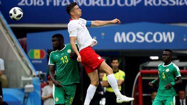 Robert Lewandowski w meczu Polska - Senegal. Mistrzostwa Świata w Piłce Nożnej w Rosji. Moskwa, stadion Spartaka, 19 czerwca 2018