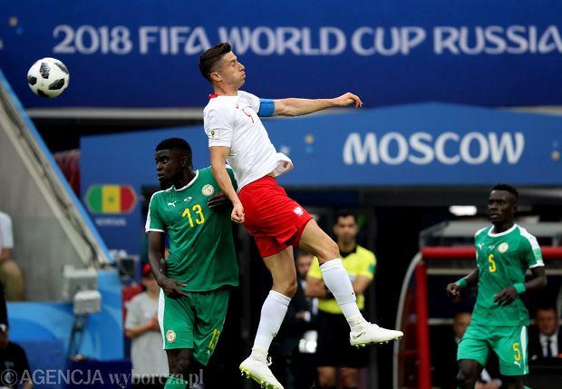 MŚ 2018. Robert Lewandowski podczas meczu fazy grupowej Polska - Senegal