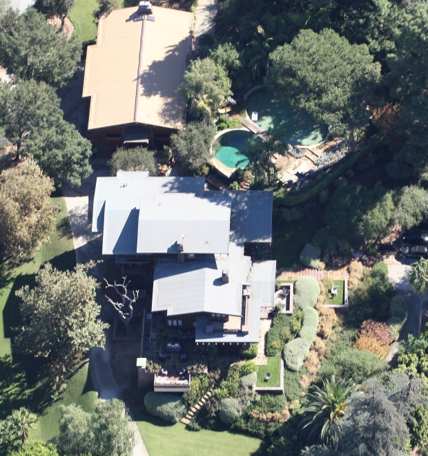 Aerial shots Of Brad Pitt and Angelina Jolie's Los Feliz mansion where we can see pumpkins on a table in the back looks like they are getting ready for Halloween. October 17, 2012 X17online.com EXCLUSIVE *** Local Caption ***  Brad Pitt and Angelina Jolie