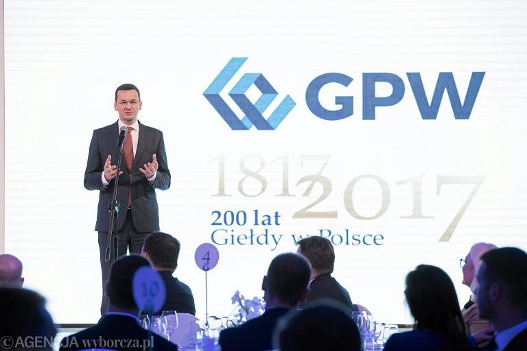 Minister finansów i rozwoju Mateusz Morawiecki na GPW