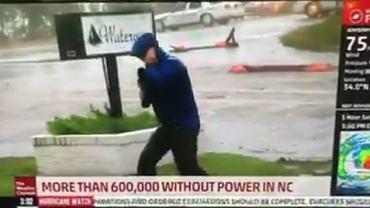 Reporter 'walczy' z wiatrem na wizji