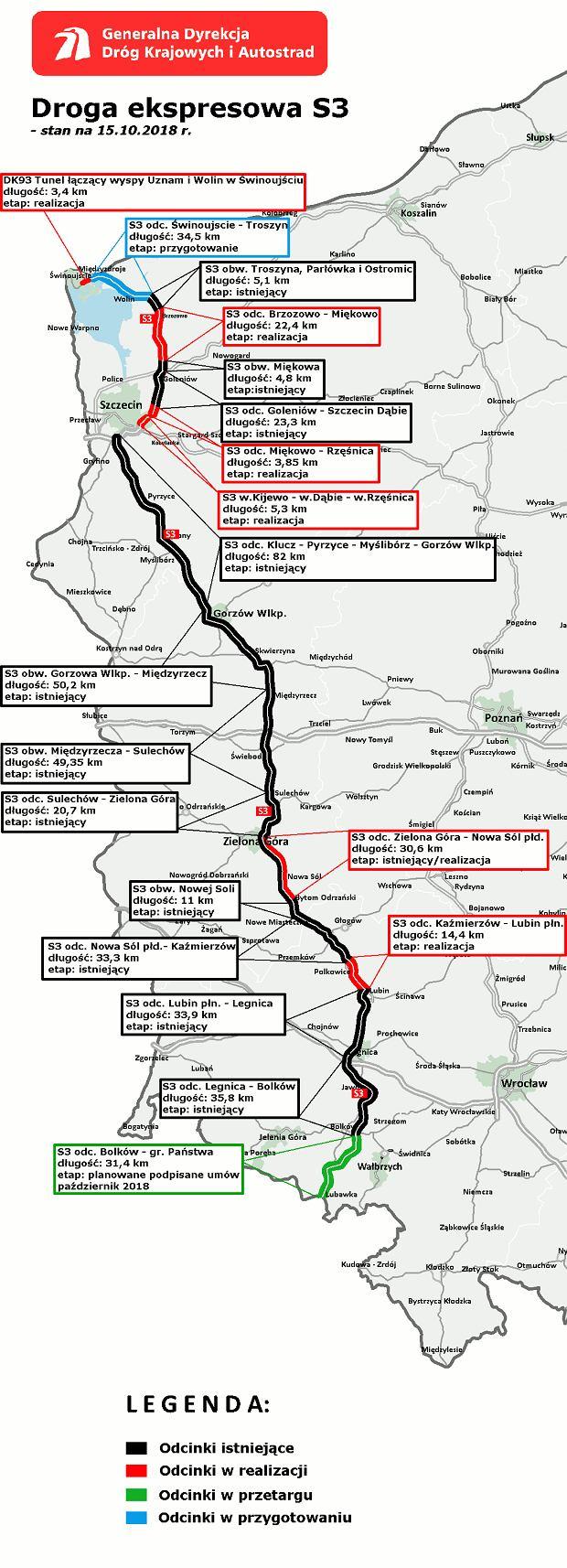 stan budowy drogi ekspresowej S3