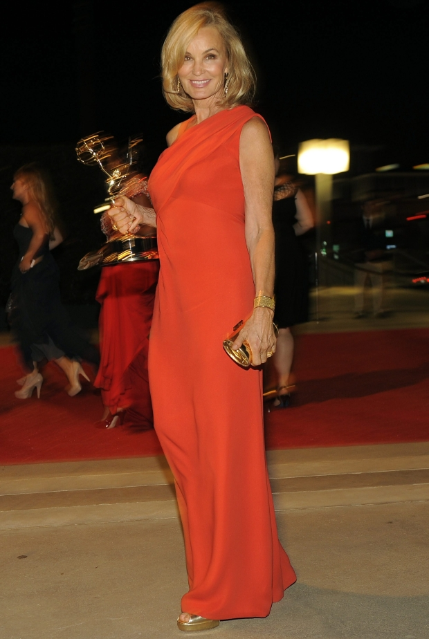 "Jessica Lange, winner of the award for outstanding supporting actress in a miniseries for ""American Horror Story,"" arrives at the 64th Primetime Emmy Awards Governors Ball on Sunday, Sept. 23, 2012, in Los Angeles. (Photo by Chris Pizzello/Invision/AP)"