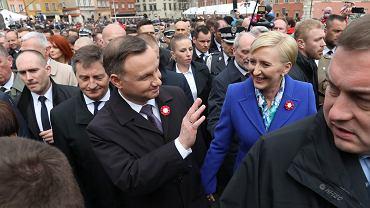 Andrzej Duda i Agata Kornhauser-Duda podczas obchodów święta Konstytucji 3 Maja