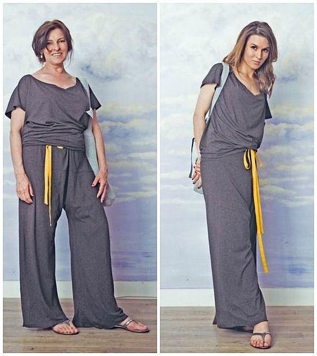 Mama i córka w stylizacji ze spodniami mamy.