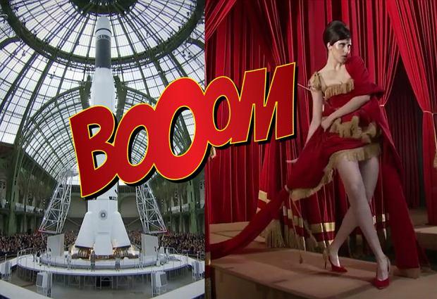 Statek kosmiczny, wybieg w Luwrze, modelka zaplątana w firanę - oto najlepsze momenty Tygodnia Mody w Paryżu
