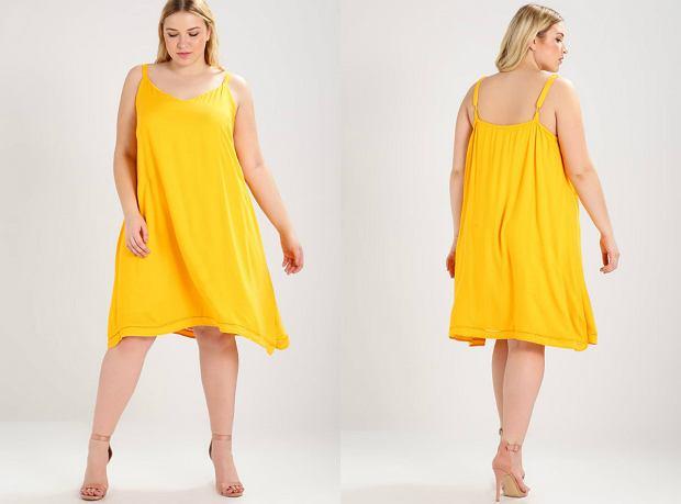 d854520291 Żółta letnia sukienka w rozmiarze plus size  Moda plus size