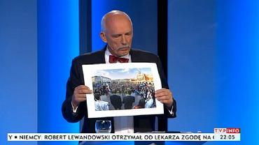Janusz Korwin Mikke podczas debaty prezydenckiej