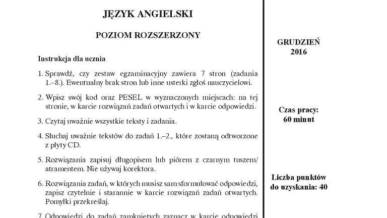 Próbny egzamin gimnazjalny Operon, angielski PR, arkusz 1