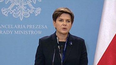 Premier Beata Szydła na konferencji prasowej.