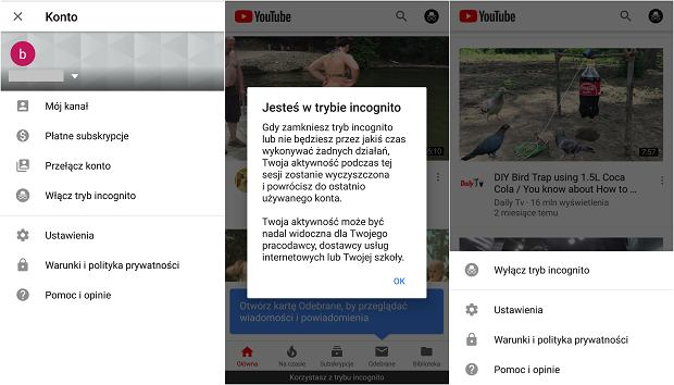 Tryb Incognito na YouTube