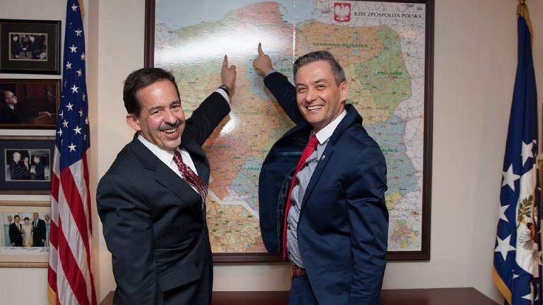 Ambasador USA Stephen Mull i Robert Biedroń