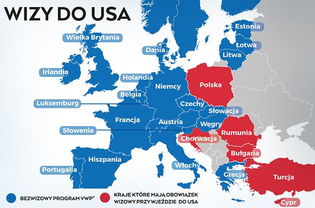 Państwa mogące podróżować do USA bez wiz