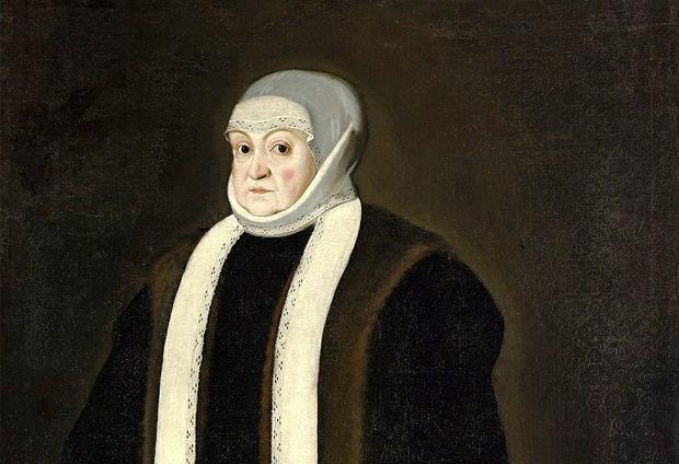 Królowa Bona Sforza (1494-1557) na obrazie datowanym na 1557 r. nieznanego autora (podpisany monogramem P.F.). Polska władczyni rodem z Włoch była apodyktyczna i krzykliwa. Pozycję polityczną budowała poprzez gromadzenie ogromnego majątku i sojuszu z magnaterią przeciw szlachcie, która jej nie znosiła.