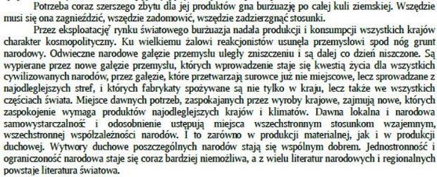 Fragment Manifestu Komunistycznego Karola Marksa i Fryderyka Engelsa