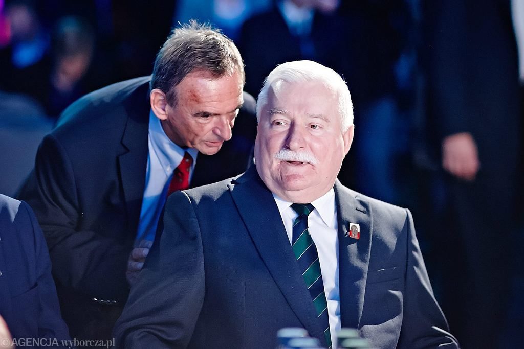 Były prezydent RP Lech Wałęsa i jego współpracownik Mieczysław Wachowski, Łódź, 2014.
