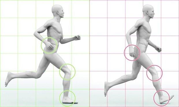 DOBRY KROK (z lewej) - kolano przy uderzeniu o pod�o�e jest zgi�te, a �ydka ustawiona prostopadle do ziemi; - stopa l�duje p�asko; - ramiona nie przekraczaj� pasa; Z�Y KROK (z prawej) -  kolano przy l�dowaniu na ziemi jest wyprostowane (wstrz�s zamiast amortyzacji), pi�ta przyjmuje ca�e uderzenie, palce stopy s� zadarte do g�ry (to hamowanie z szarpni�ciem ca�ej nogi); - ramiona nie wspomagaj� kroku, s� zbyt nisko
