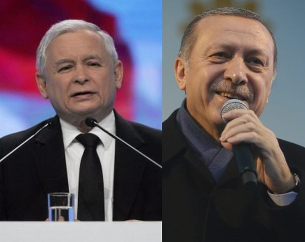 Prezes PiS Jarosław Kaczyński. Prezydent Turcji Recep Erdogan