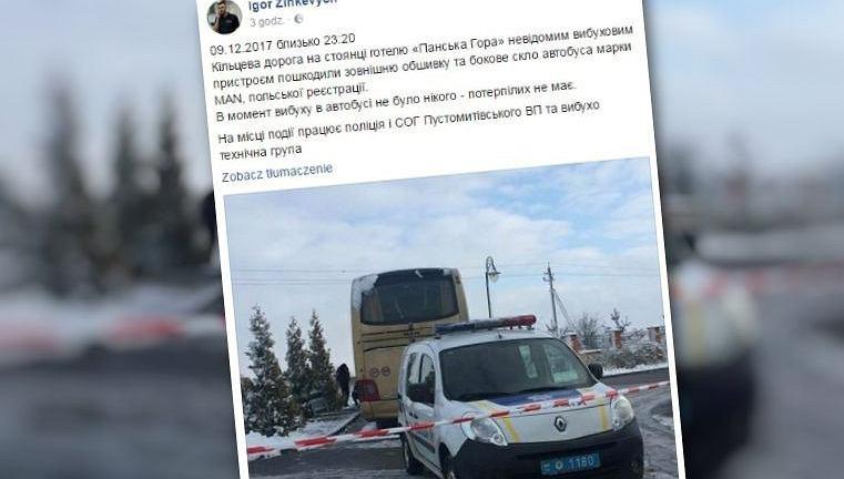 Wybuch pod polskim autokarem