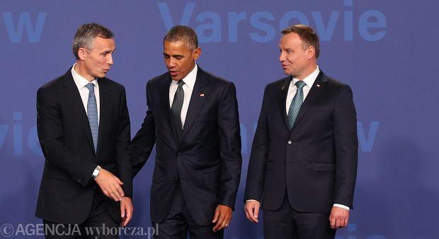 Sekretarz generalny NATO Jens Stoltenberg, prezydent USA Barack Obama i prezydent RP Andrzej Duda podczas pierwszego dnia szczytu Sojuszu<br /><br /><br /> w Warszawie. Stadion Narodowy, 8 lipca 2016 r.