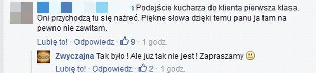 Komentarze na profilu Facebook.com/Zwyczajna