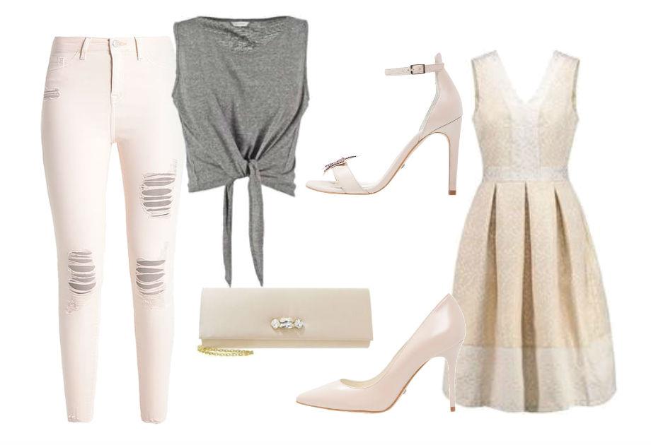 spodnie i sukienka w kolorze nude buty na obcasie