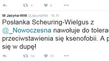 Wpis Małgorzaty Jacyny-Witt na Twitterze
